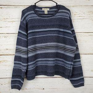 Eddie Bauer Blue & Grey Silk Blend Sweater